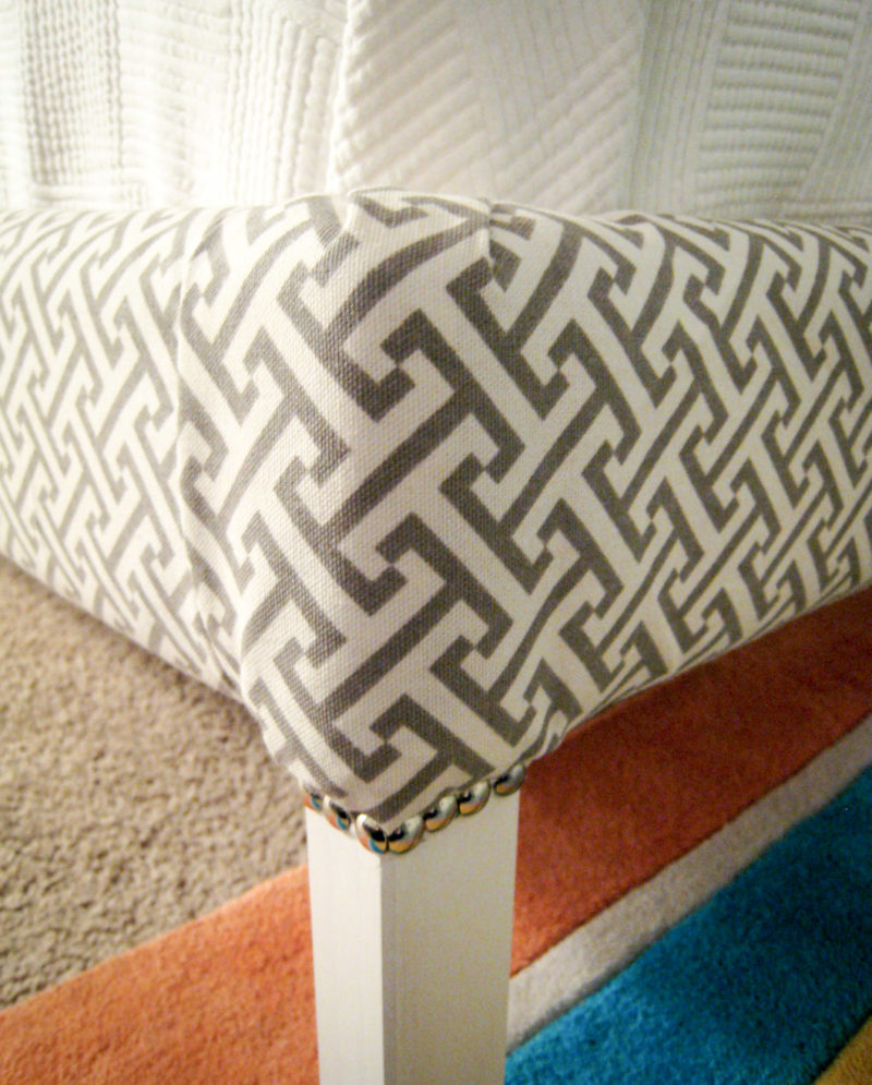 Nailhead trim on DIY upholstered bed