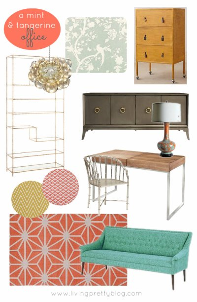 Mood Board - Mint and Tangerine Office Design
