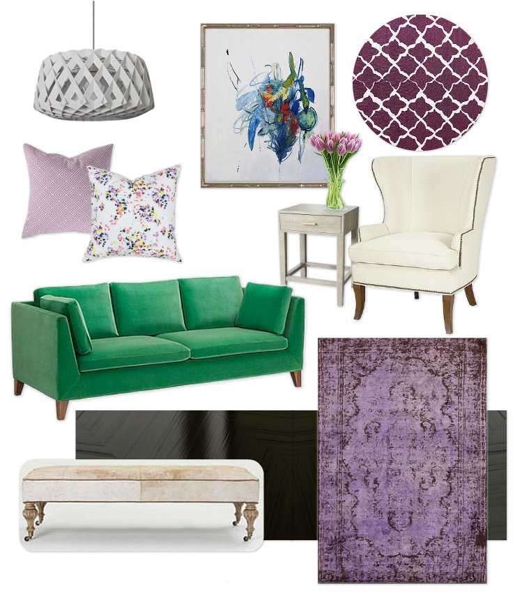 Lavender and Emerald Living Room Design Mood Board