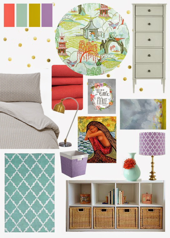 Coral Turquoise Lilac Mustard Girl Room Bedroom