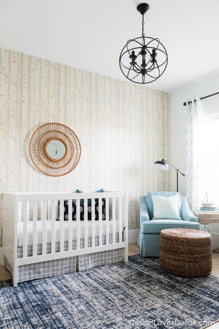 Calming baby boy nursery woodland wallpaper