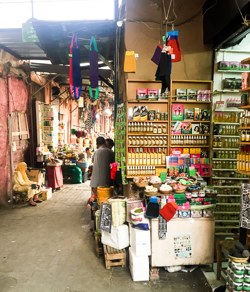 Stalls and alleys in Marrakech souk