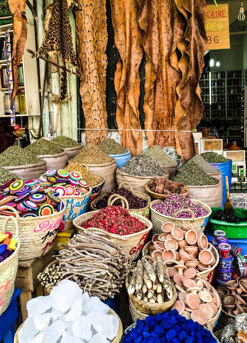 Marrakech souk spice stall