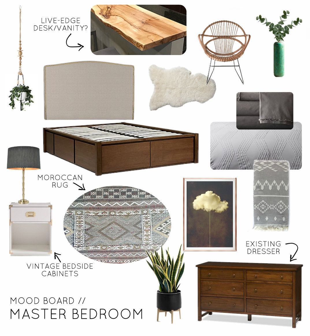 Mood Board Neutral Eclectic Master Bedroom