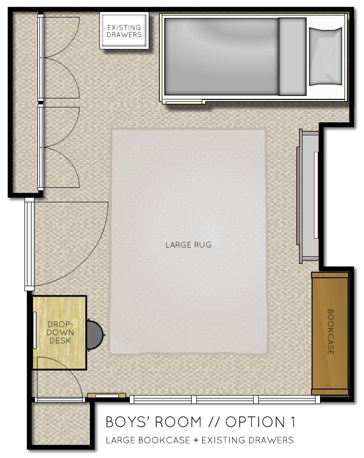 Boys Room Floor Plan  with bunk beds Option 1