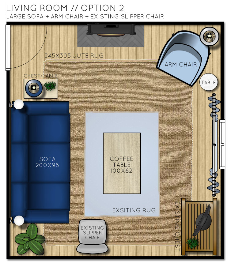 Country Cottage Living Room Floor Plan - Option 2