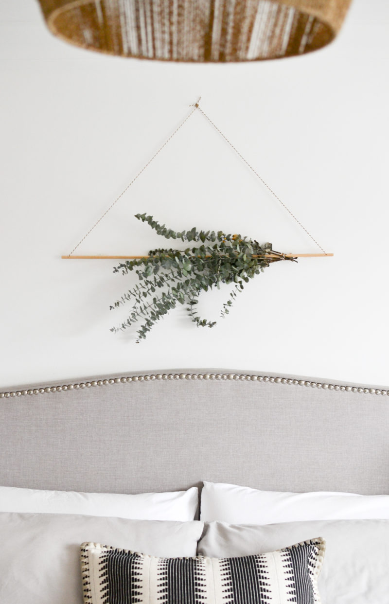Global Neutral Master Bedroom Reveal - DIY Eucalyptus Wall Hanging