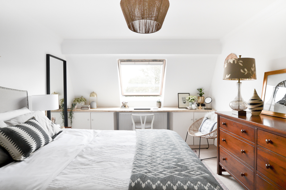 Neutral Layered Light Master Bedroom Whole Room