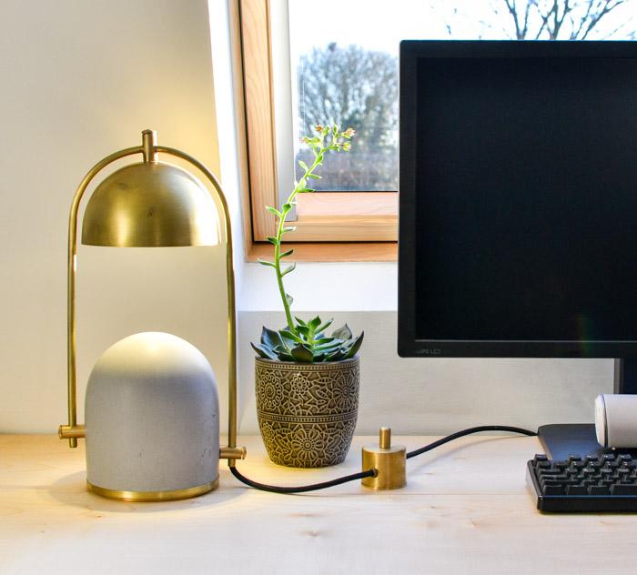 Concrete and Brass Desk Lamp