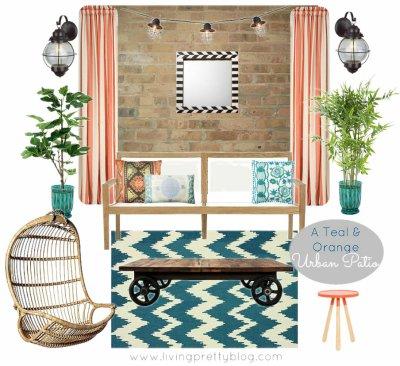 Mood Board - Teal & Orange Urban Patio Design Collaboration