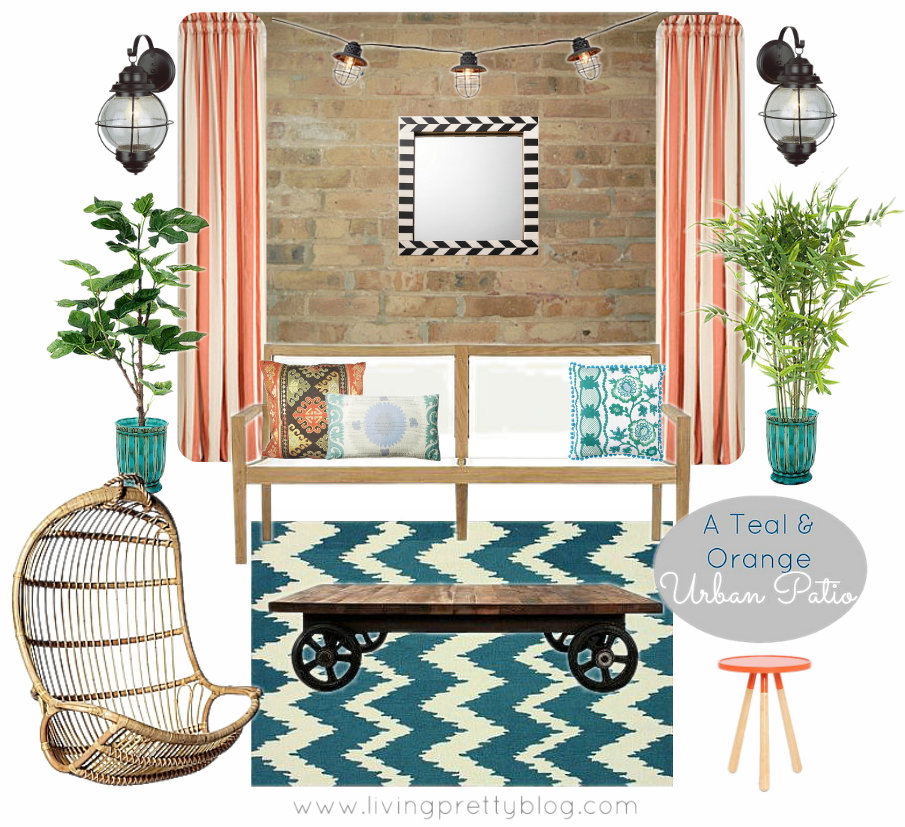 Mood Board - Teal & Orange Urban Patio Design Collaboration
