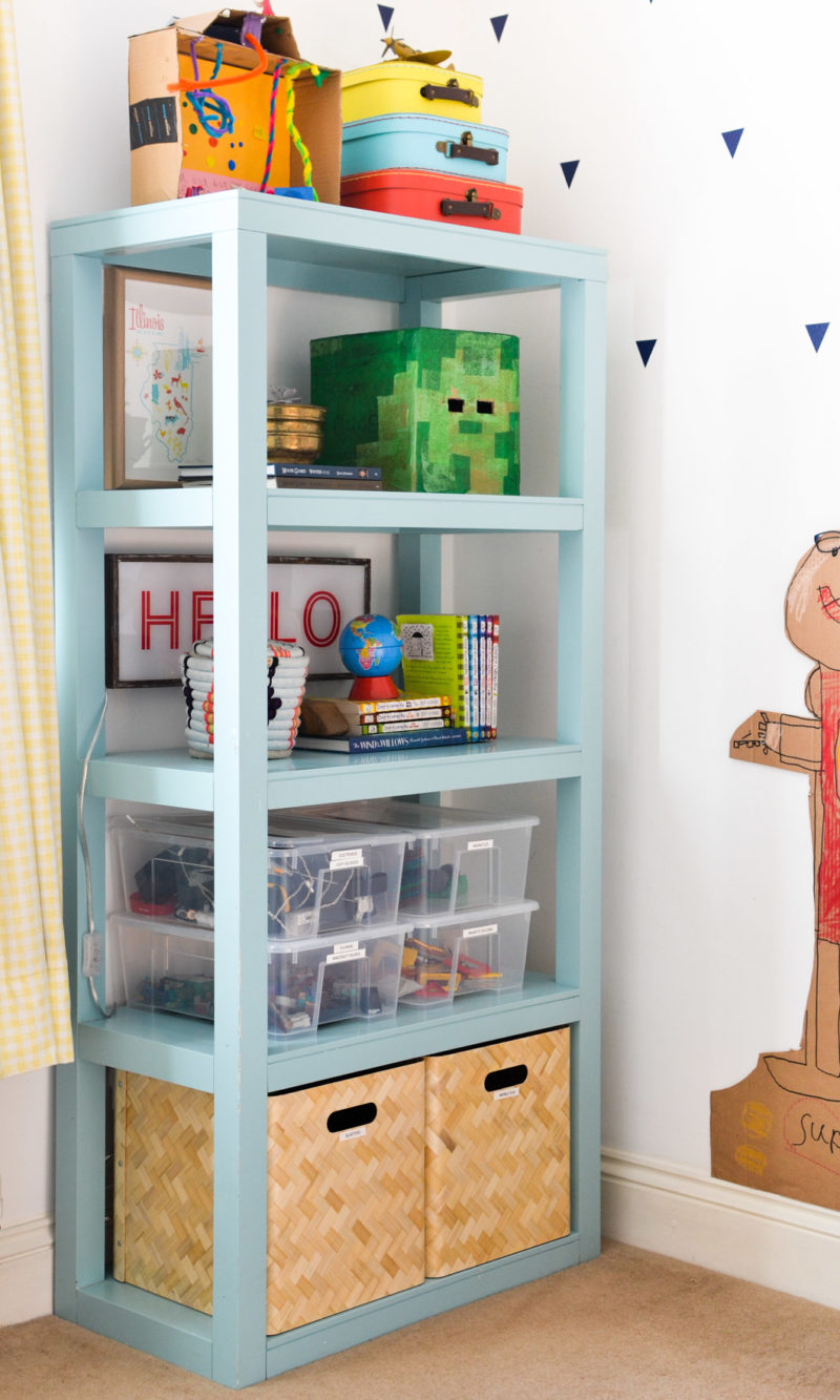 Image of bookcase with lightbox and toy storage
