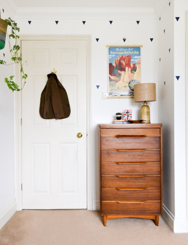 Midcentury tallboy dresser chest of drawers in boys room