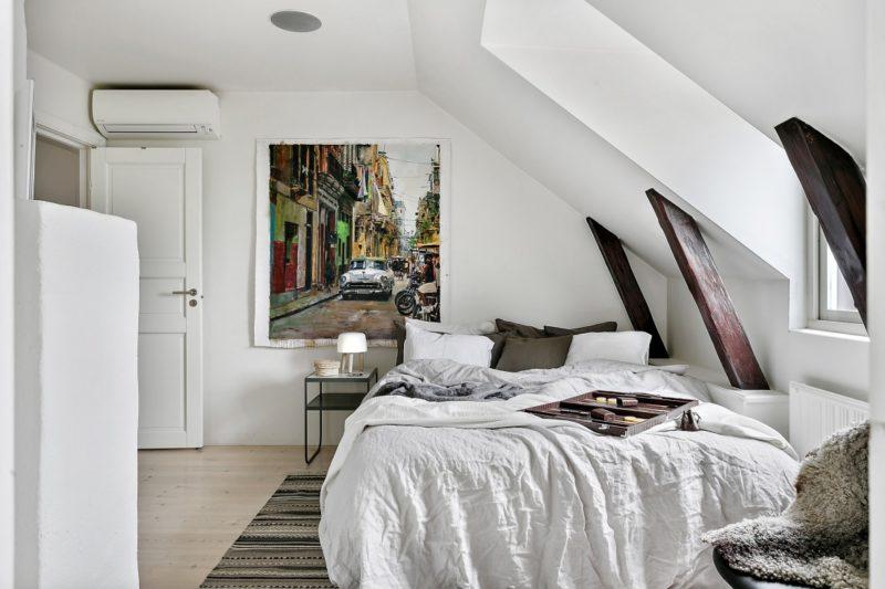 Neutral Scandinavian Apartment Stockholm Master Bedroom