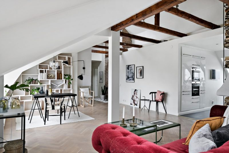 Neutral Scandinavian Apartment Stockholm Living and Dining Area