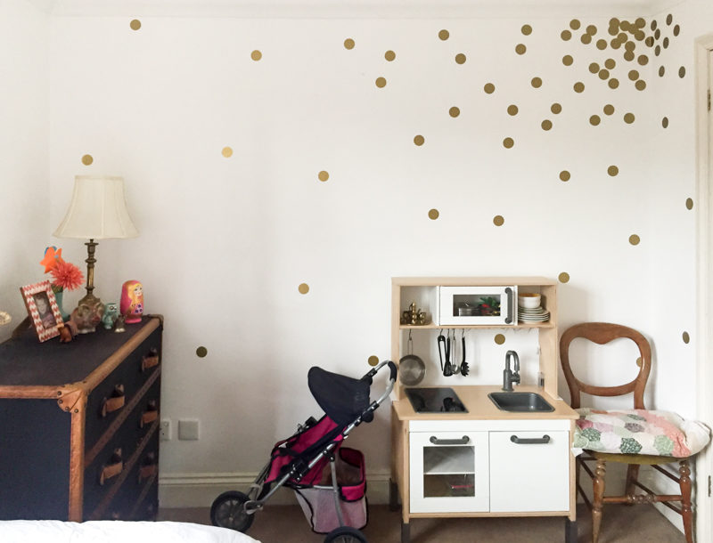 Global Boho Girls Bedroom - One Room Challenge Makeover - Before Photo with Gold Dot Decals