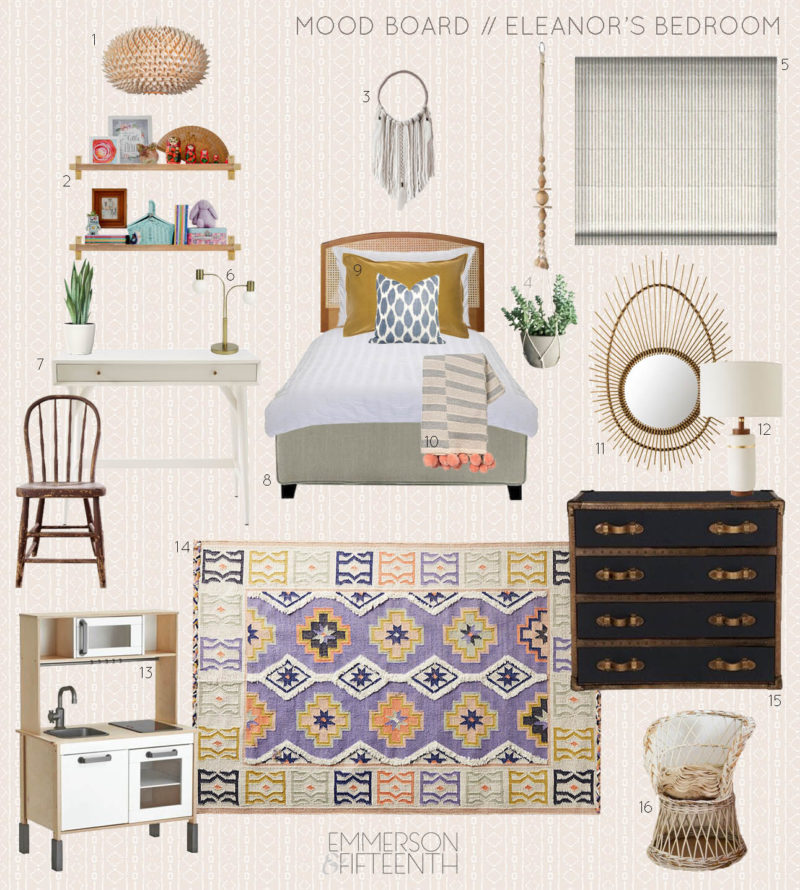 Mood Board - Eleanor's Global Boho Bedroom - One Room Challenge Spring 2017 - with key