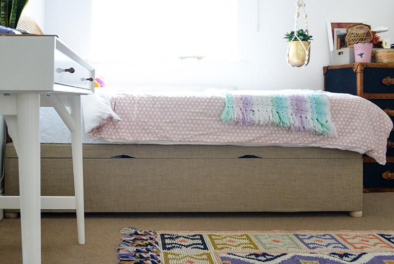One Room Challenge Week 4 - Global Boho Girls Bedroom - Ottoman Storage Bed Closed-b