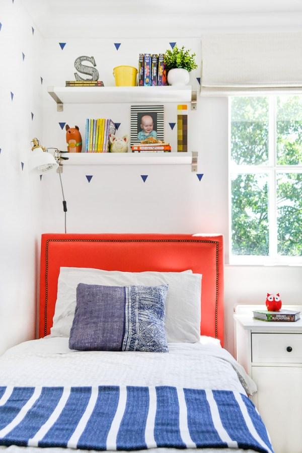 DIY upholstered bed in boys room - Blinds 2Go Review