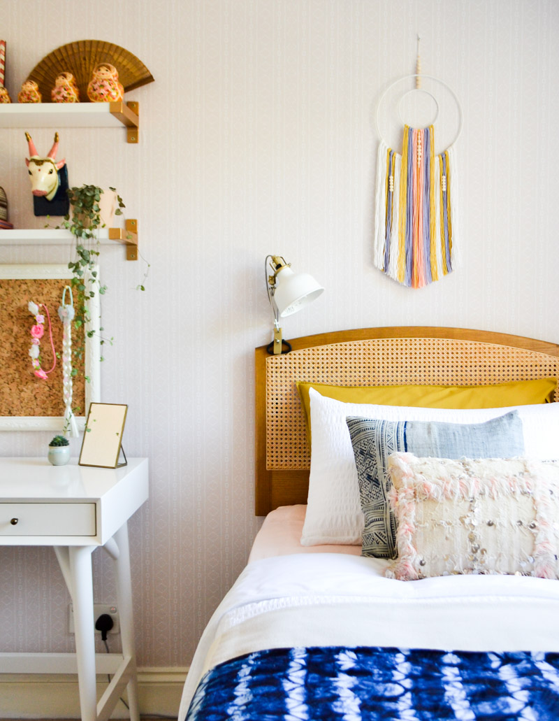 Global boho kids bedroom makeover - DIY wall hanging + wicker headboard