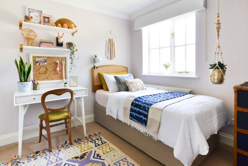 Global boho kids room makeover - desk + ottoman storage bed
