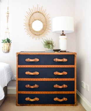 Global boho kids room makeover - industrial chest