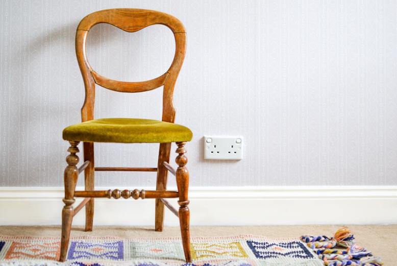 Vintage Chair & Anthropolgie Caravan Rug on Holli Zollinger Bebe Mudcloth White - Spoonflower Peel & Stick Removable Wallpaper