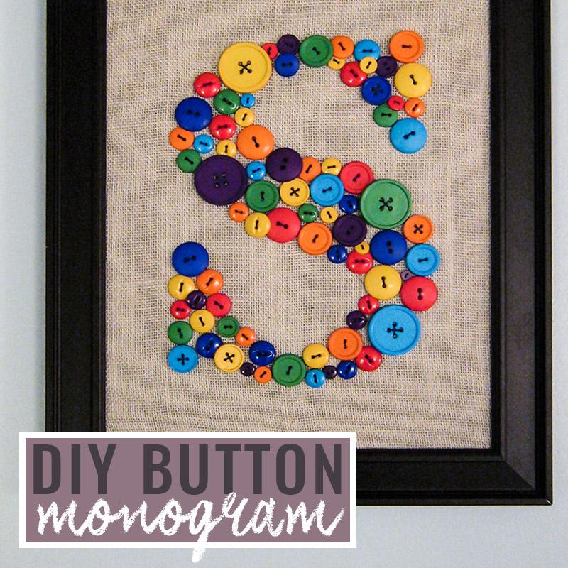 DIY Wall Art for kids room - Button Monogram Tutorial