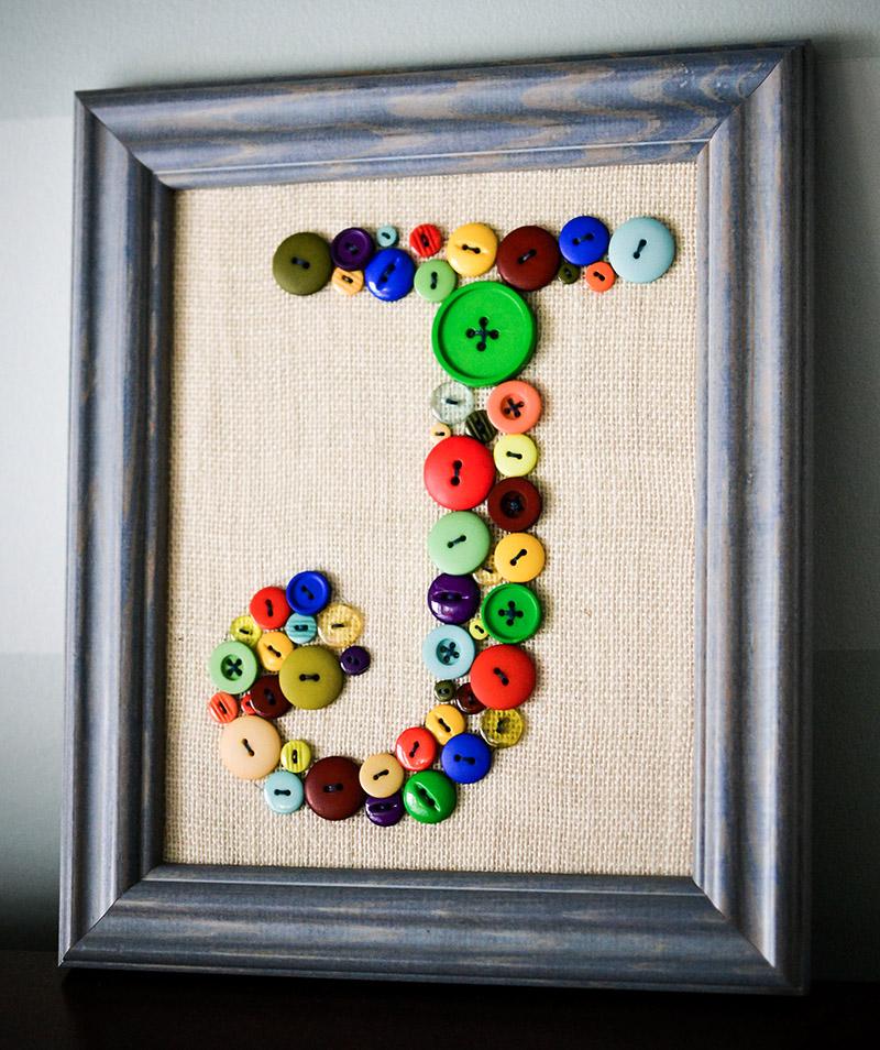 DIY Wall Art for Kids Room - Button Monogram Tutorial - letter J