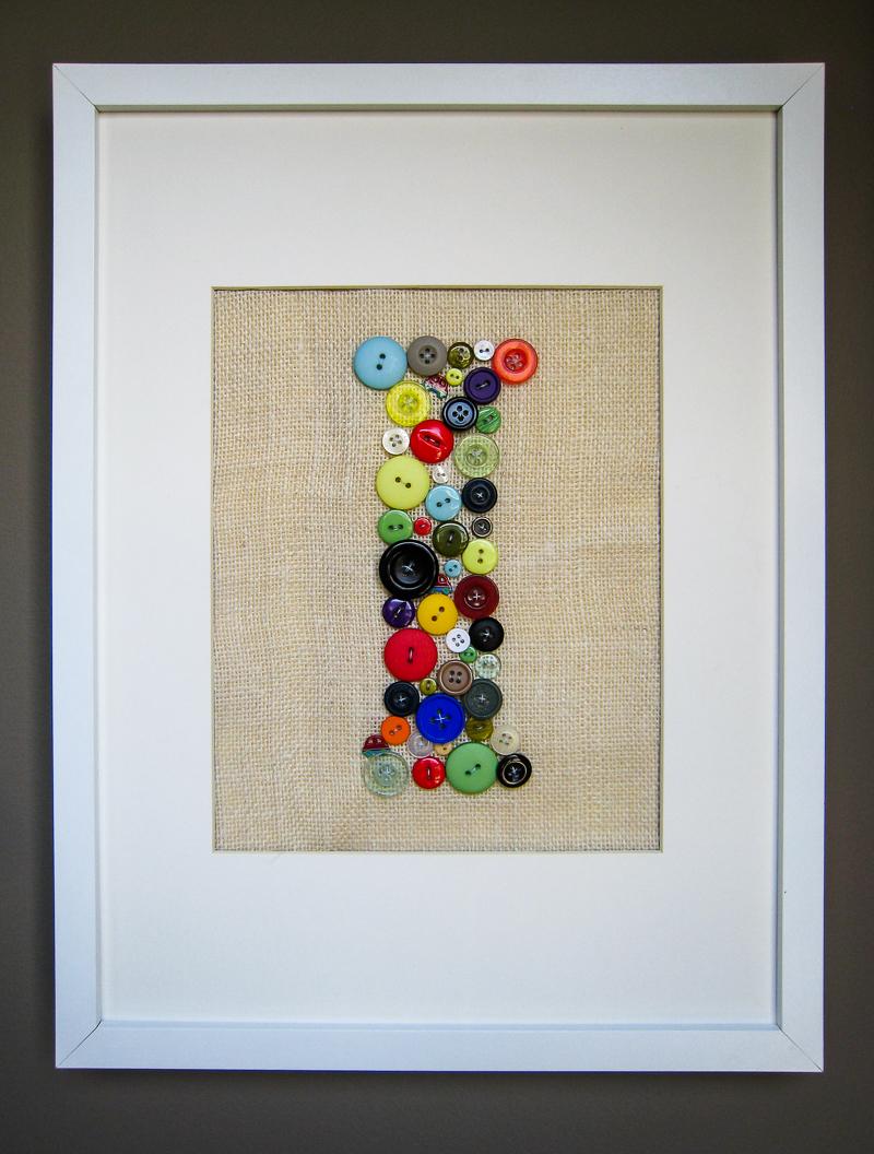 DIY Wall Art for Kids Room - Button Monogram Tutorial - letter I