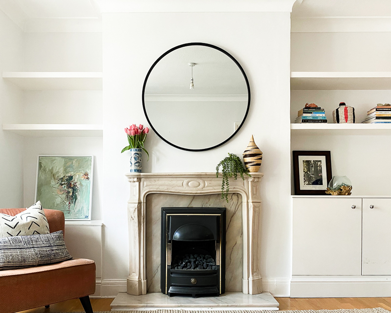 Edwardian living room in Farrow & Ball Wevet