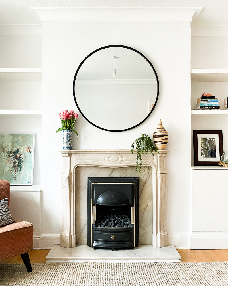 Marble fireplace with surround painted Wevet Farrow & Ball