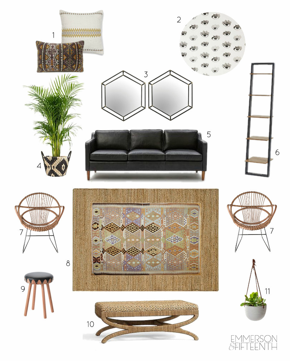 Online Interior Design mood board living room - UK version