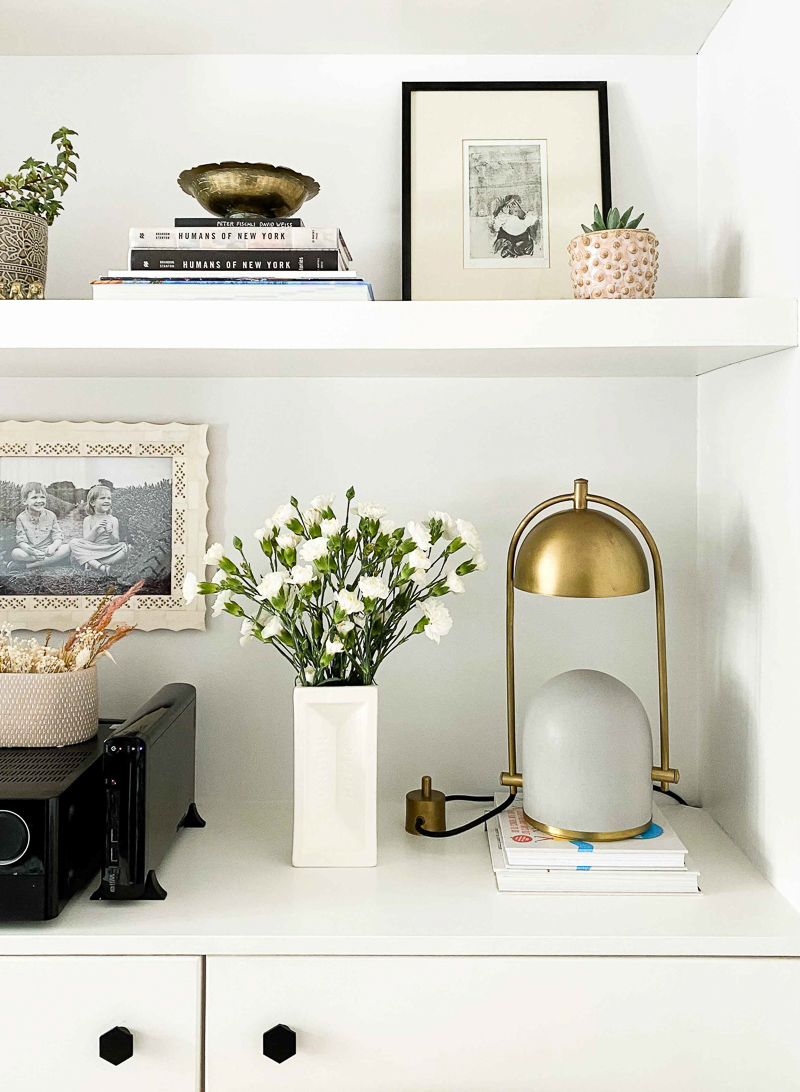 Built in shelf styled with Frontal Factory concrete lamp and London Brick vase