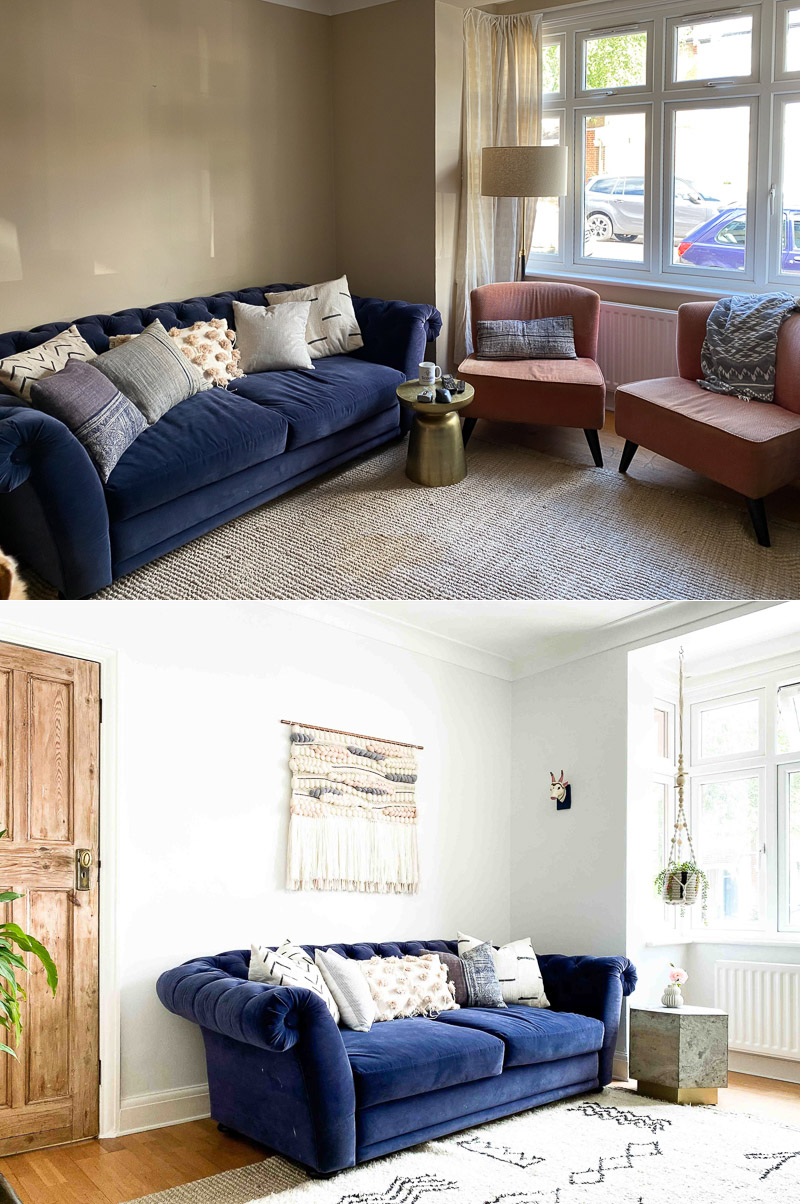Global eclectic living room design before & after - navy chesterfield