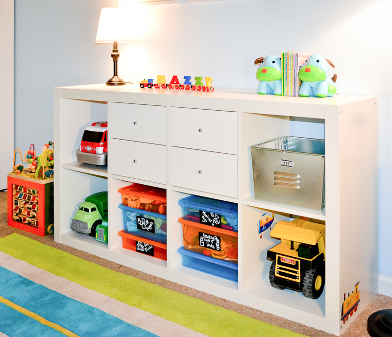 Ikea Expedit as toy storage in toddler bedroom