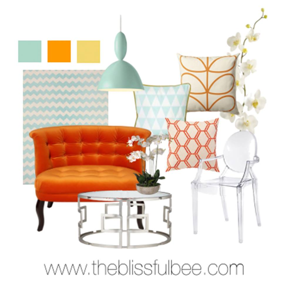 Orange and aqua blue living room mood board with ghost chair