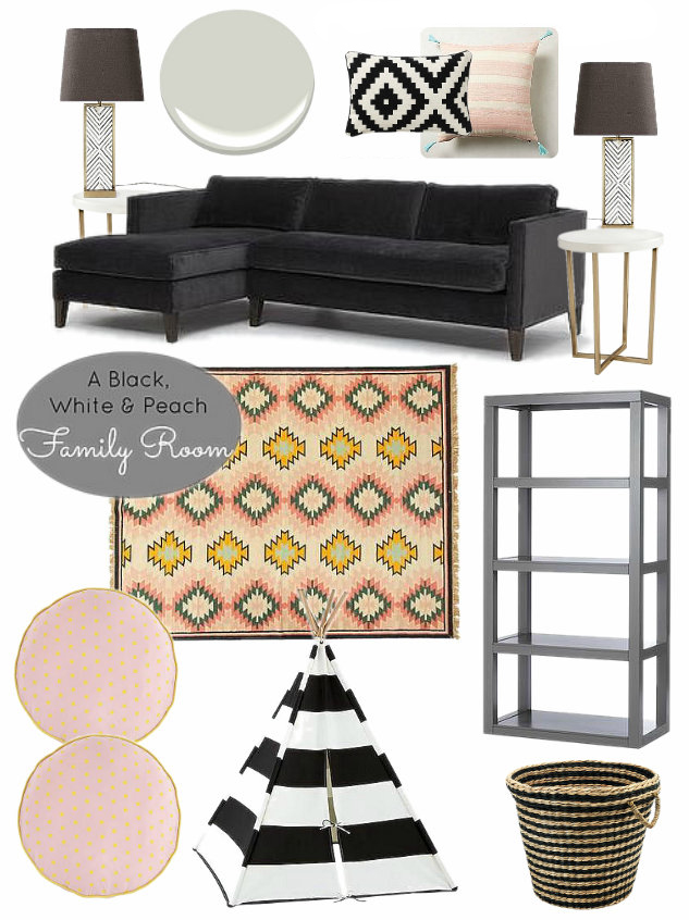 Black, white and blush pink family room design