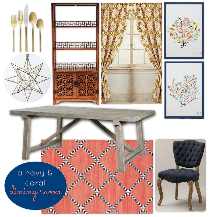 Navy, coral and gold global dining room