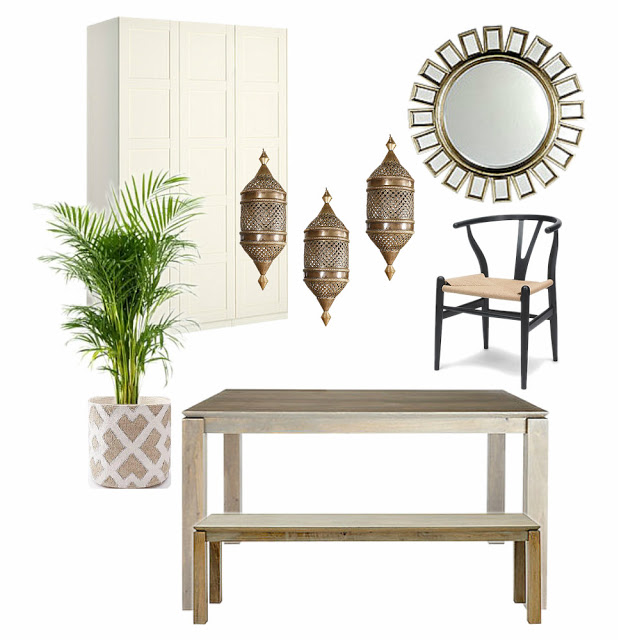 Long Narrow Neutral Global Dining Room Interior Design Mood Board