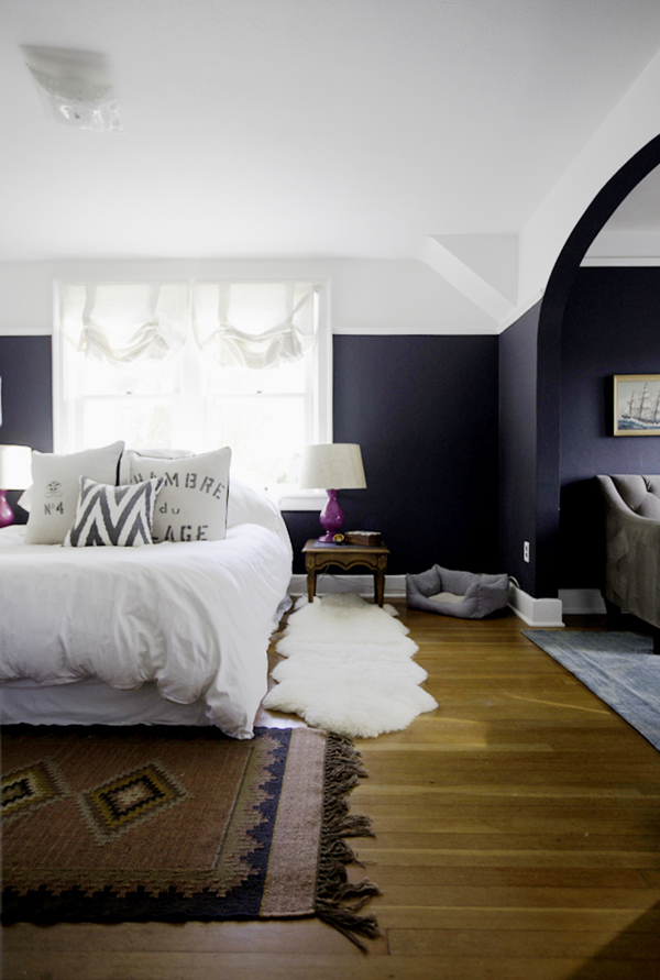 Paint scheme to heighten ceilings - dark navy on bottom, white on top; inspiration for family media room design
