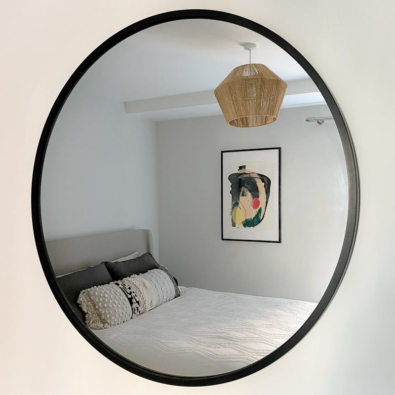 Umbra Hub Round Black Wall Mirror