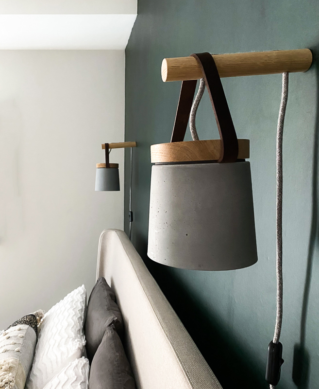 Wall hung plug in concrete lights