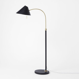 West Elm Mid Century Floor Lamp Black Brass