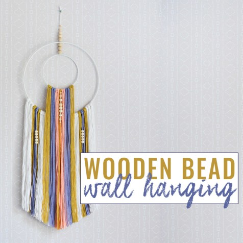 DIY boho wall hanging with wooden beads tutorial