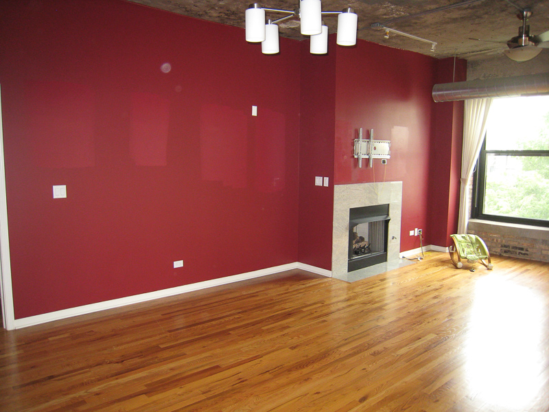 Loft Living Room Before with red wall