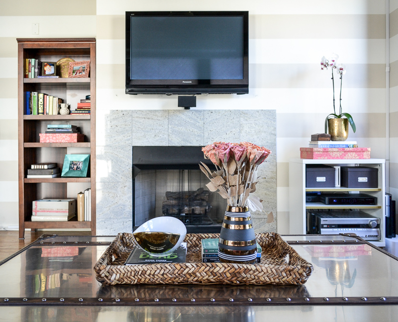 Marble fireplace and coffee table styling