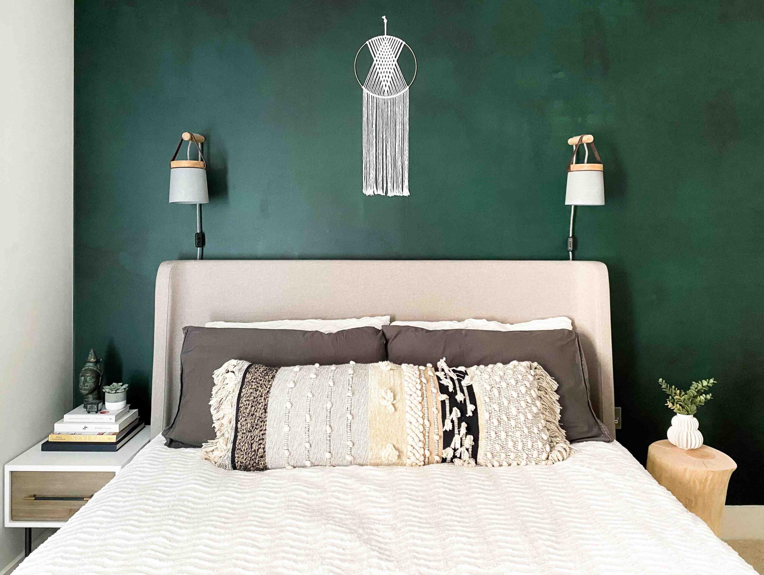 Modern boho bedroom watercolour mural