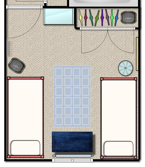 Shared kids room floor plan with twin beds