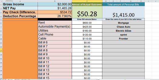 personal budget Calculating your expense outcome. picture